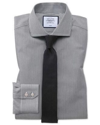 Extra slim fit non-iron cutaway collar black Bengal stripe shirt