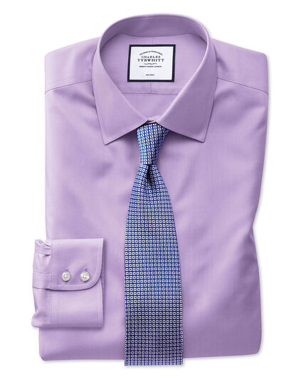Extra slim fit non-iron light lilac twill shirt