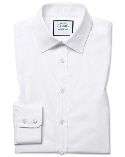 Slim Fit Popeline-Hemd aus ägyptischer Baumwolle in Weiß