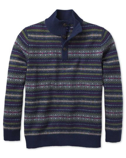 Navy multi fairisle button neck sweater