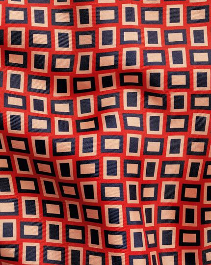 Retro Rectangle Print Pocket Square - Orange & Navy