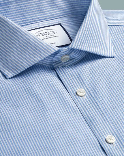Super slim fit cutaway collar non-iron cotton stretch Oxford sky blue stripe shirt
