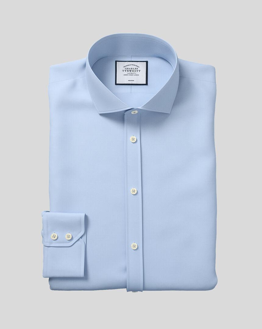 Bügelfreies Twill Hemd mit Haifischkragen - Himmelblau