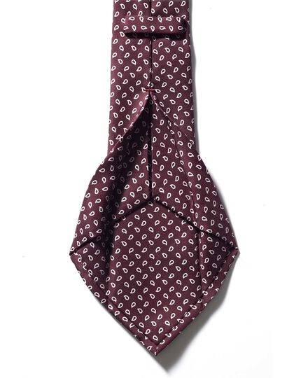 Burgundy luxury silk English 7-fold tie