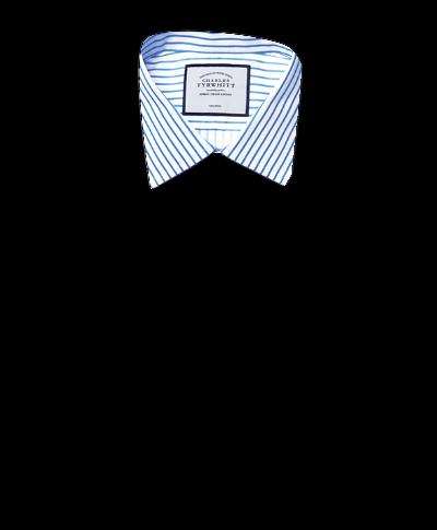 Bügelfreies Extra Slim Fit Twill-Hemd in Weiß und Himmelblau mit Streifen
