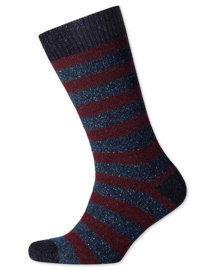 Burgundy and navy stripe chunky socks