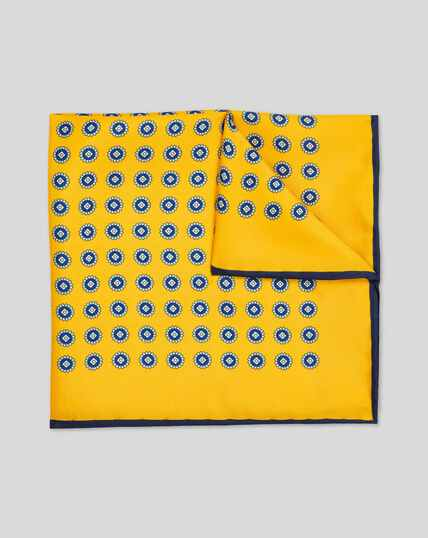 Medallion Print Pocket Square - Gold