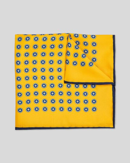 Medallion Print Pocket Square - Gold
