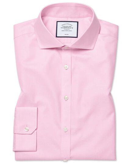 Super slim fit pink non-iron twill shirt