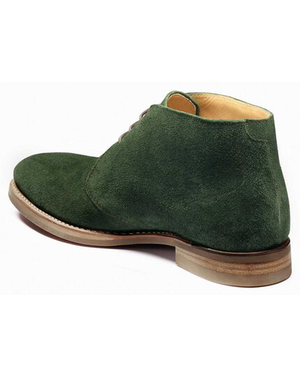 Green suede Goodyear Welted chukka boots
