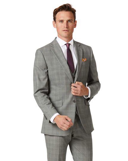 Grey Prince of Wales slim fit Panama business suit jacket