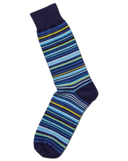 Blue and yellow multi stripe socks