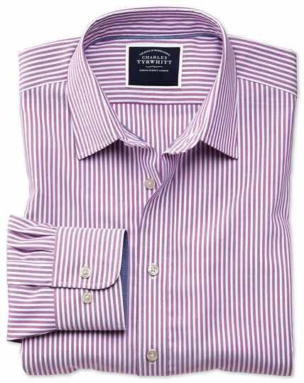 Bügelfreies Slim Fit Oxfordhemd mit Bengal-Streifen in Violett