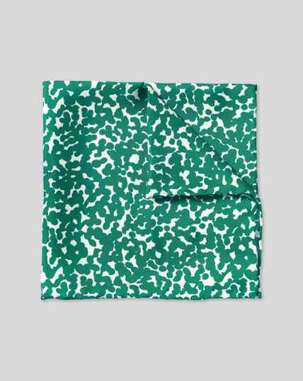 Floral Print Pocket Square - Green