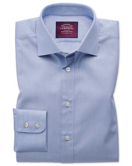 Classic fit semi-spread collar luxury cotton silk blue shirt