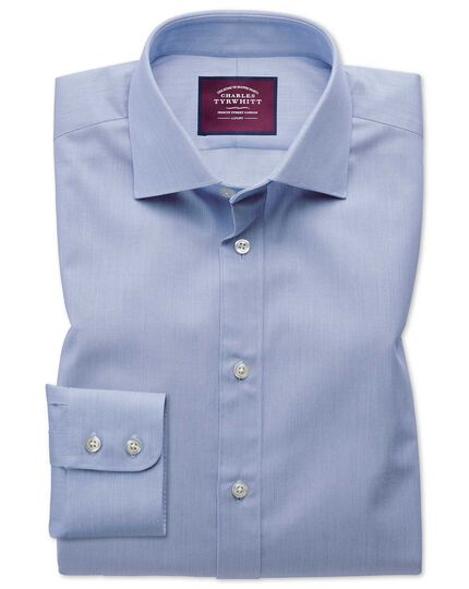 Slim fit semi-spread collar luxury cotton silk blue shirt