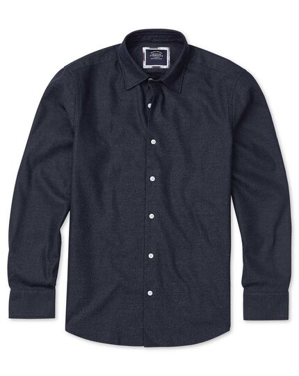 Classic fit honeycomb soft washed textured navy shirt