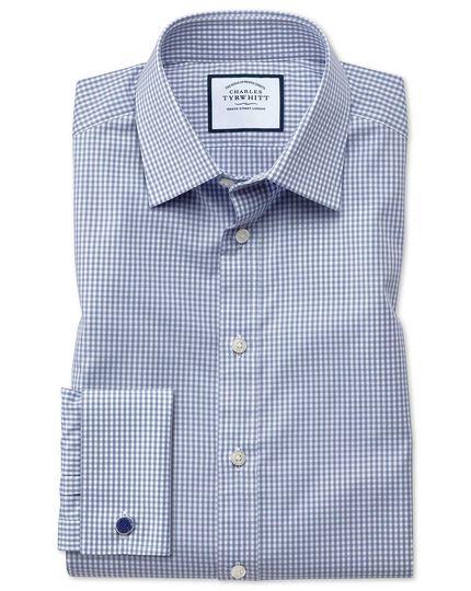 Chemise grise slim fit à petits carreaux vichy