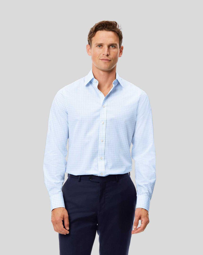 Bügelfreies Popeline-Hemd mit Kent-Kragen und Karos - Himmelblau