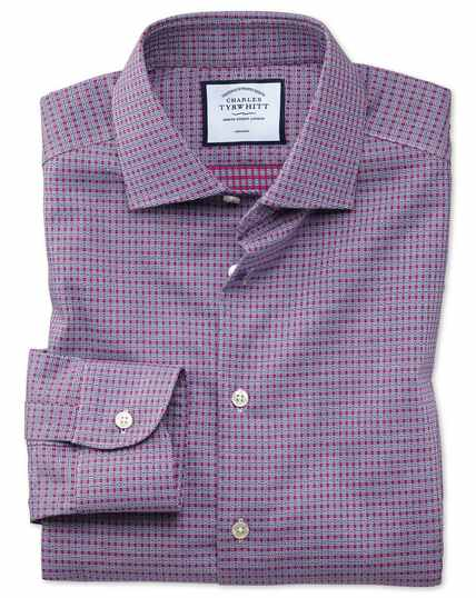 Classic fit business casual non-iron pink and navy square dobby shirt