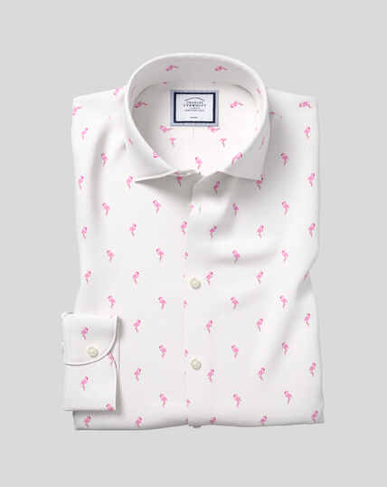 Business Casual Collar Non-Iron Flamingo Printed Shirt - Pink