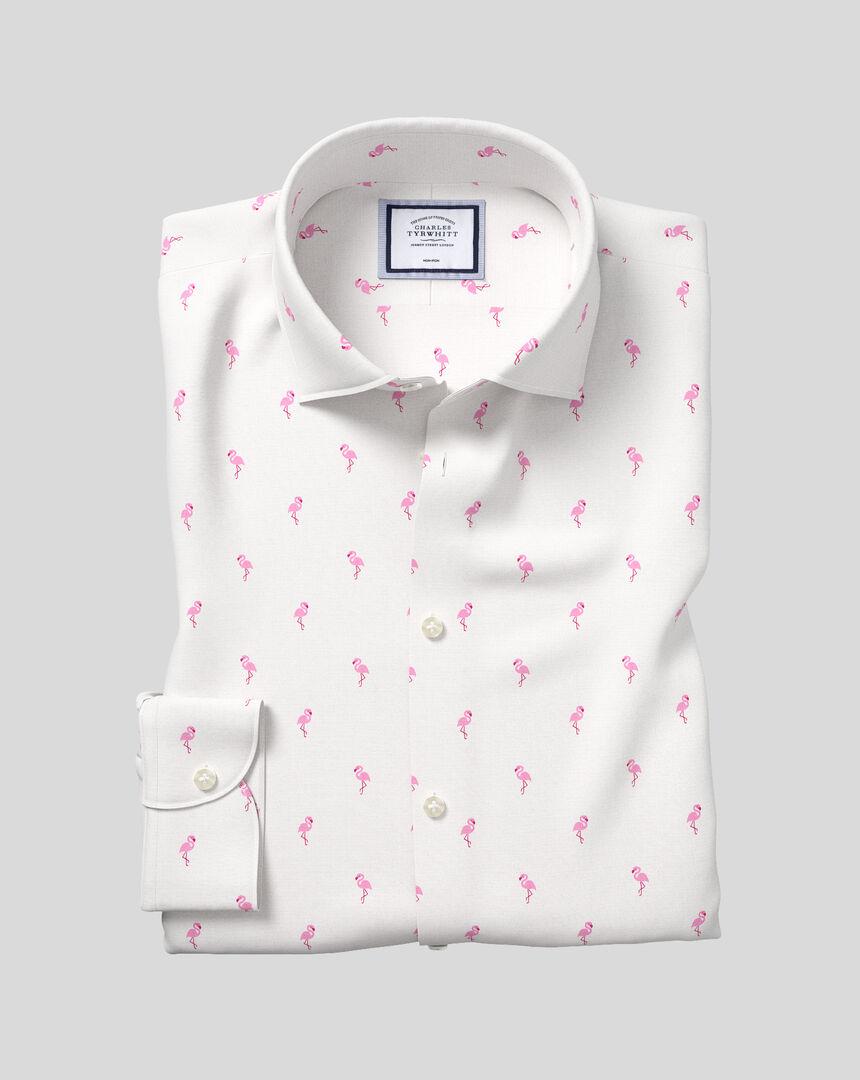 Business Casual Collar Non-Iron Flamingo Printed Shirt - Pink