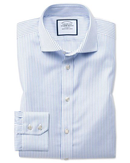 Extra slim fit cutaway collar non-iron cotton stretch Oxford stripe blue and white shirt