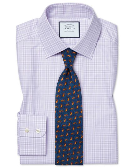 Classic fit brushed-back basketweave lilac check shirt