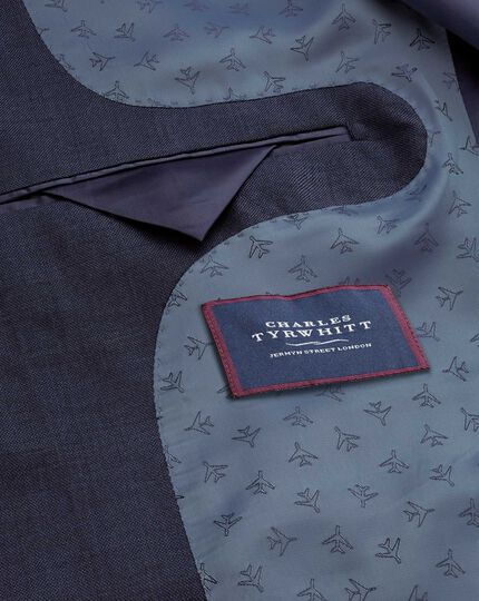Navy slim fit sharkskin travel suit jacket