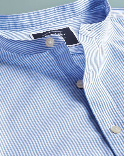 Slim fit collarless white and sky blue stripe shirt