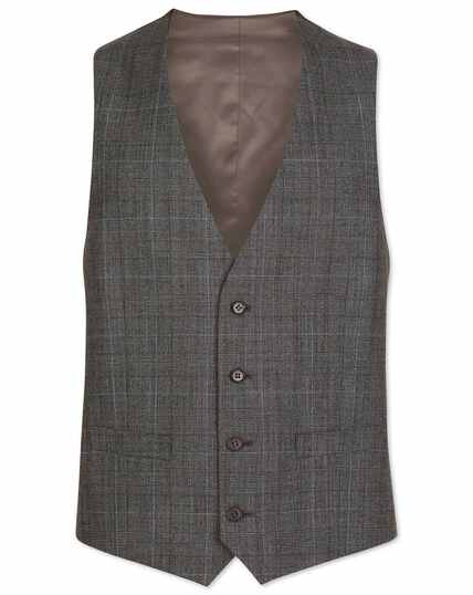Grey with tan Prince of Wales check adjustable fit vest