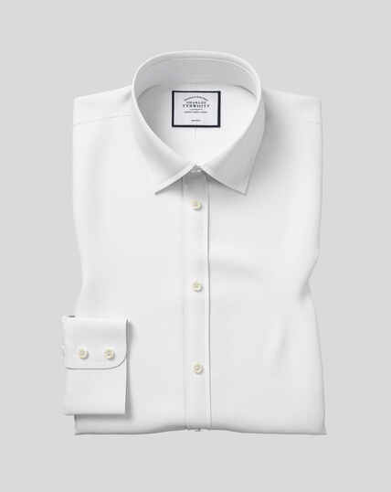 Chemise en popeline à col classique sans repassage  - Blanc
