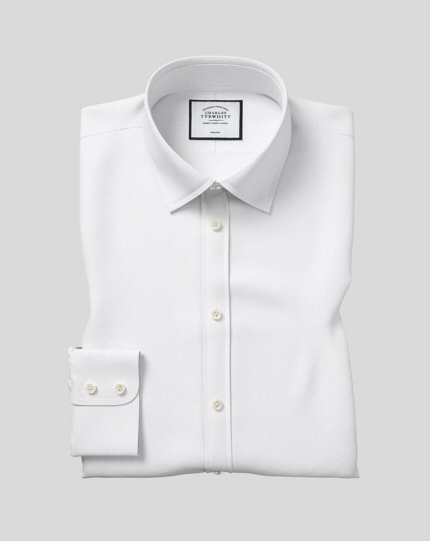 Bügelfreies Popeline-Hemd mit Kent Kragen  - Weiß