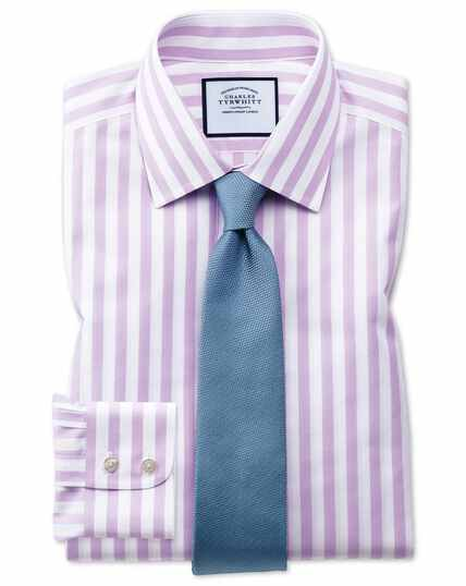 Extra slim fit non-iron purple wide bengal stripe shirt