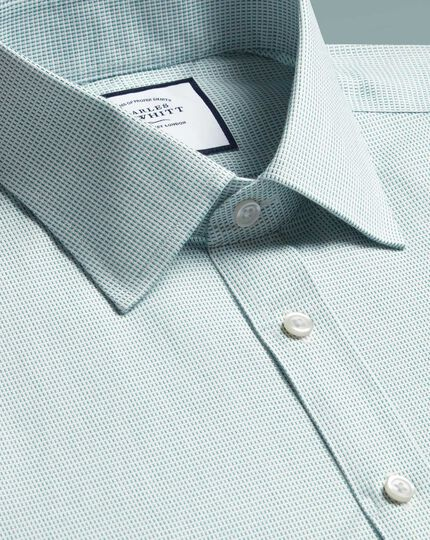 Slim fit non-iron dash weave green shirt