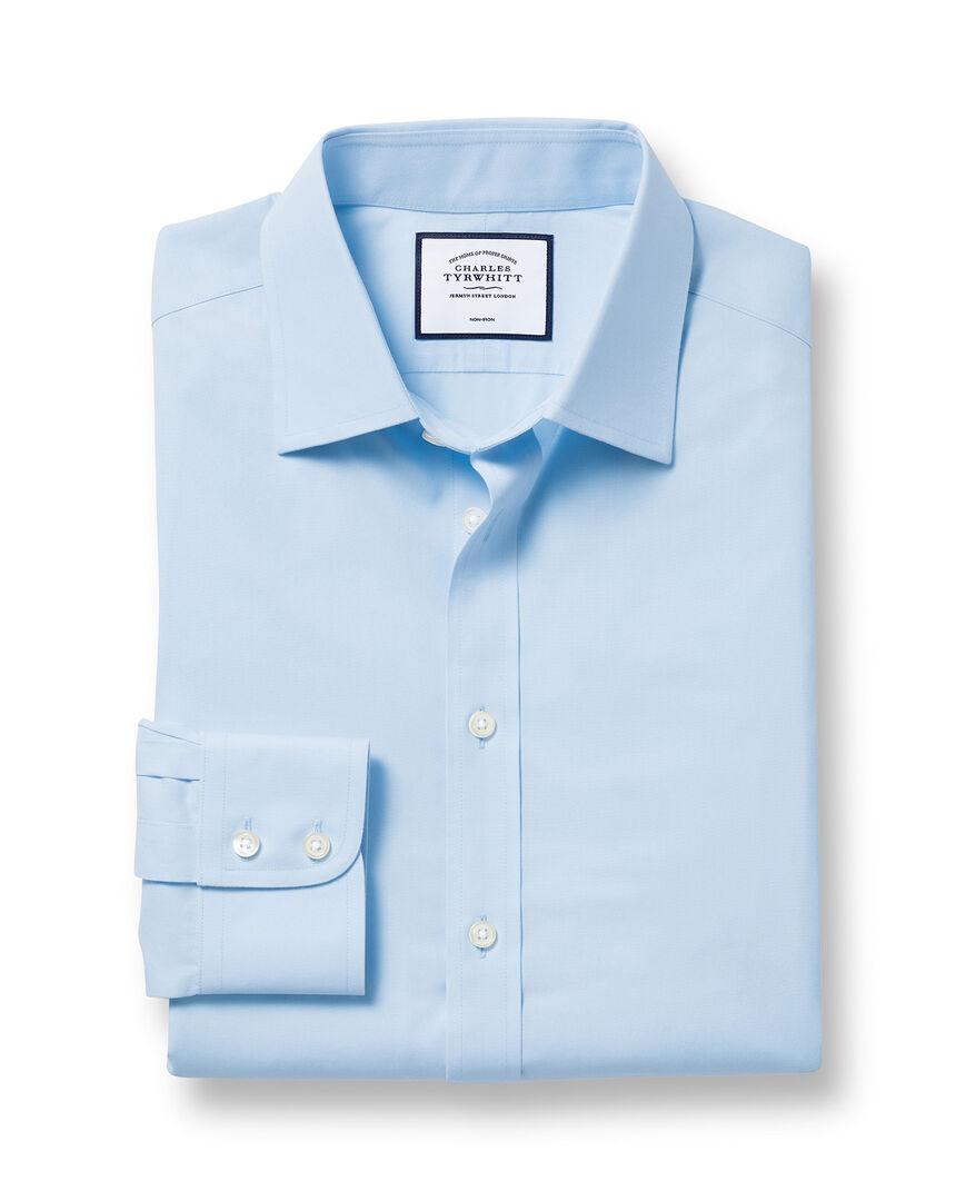 Chemise en popeline à col classique sans repassage  - Bleu ciel