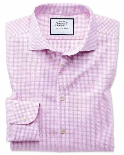 Business Casual Non-Iron Square Texture Shirt - Pink