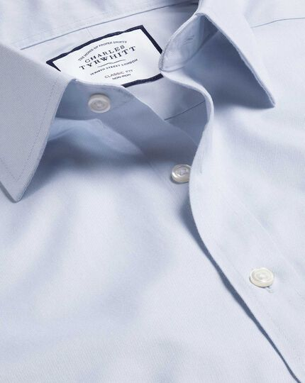 Classic Collar Non-Iron Twill Shirt - Silver