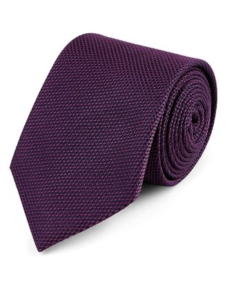 Dark purple silk plain classic tie