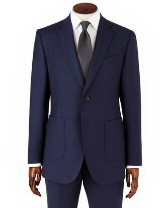 Navy slim fit crepe business suit