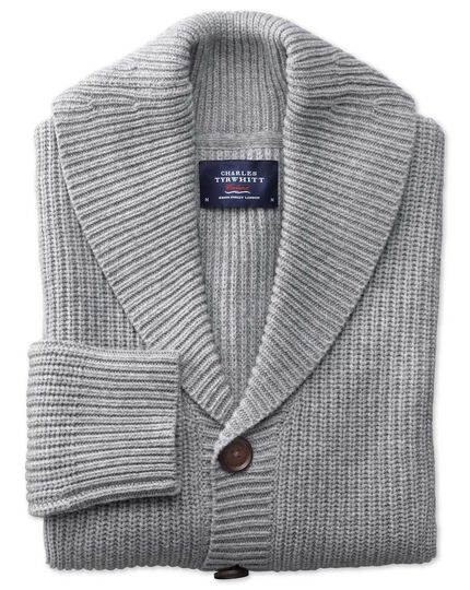 Light grey rib shawl collar cardigan