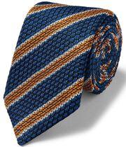 Royal and orange luxury Italian Grenadine stripe tie