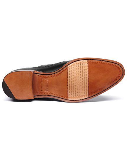 Black made in England derby brogue toe cap flex sole shoe