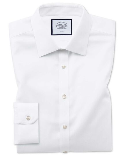 Super slim fit non-iron white triangle weave shirt