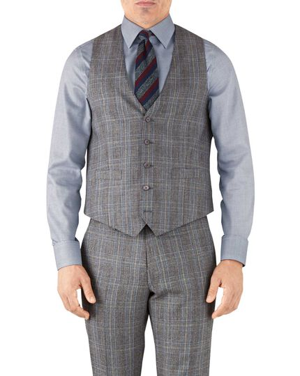 Silver Prince of Wales adjustable fit flannel business suit waistcoat