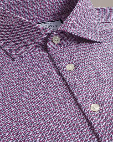 Chemise dobby business casual rose et bleu marine à imprimé carrés coupe droite sans repassage