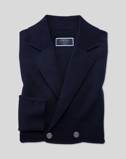 Merino Double Breasted Blazer - Navy