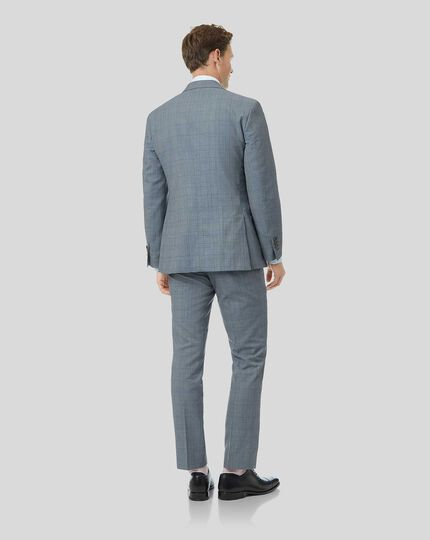 Wool Linen Check Suit - Sky Blue