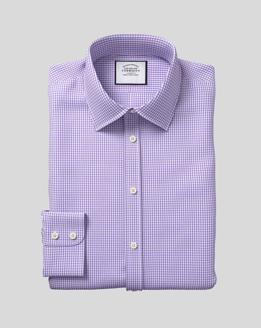 Hemd mit Kent-Kragen und Gingham-Karos - Violett