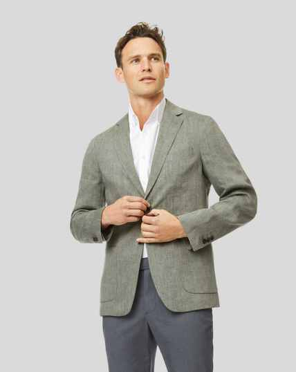 Plain Linen Jacket - Green